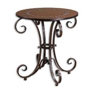 Scrolled Metal Accent Table with Faus Leather Top