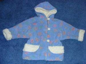 Boutique Corky & Co Company Hooded Blue Pink Floral Flower Jacket Coat