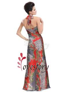 Gorgeous Full Length Colorful Printed Halter Pageant Gown Dress 09059