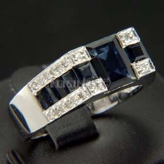Natural Sapphire Diamonds 14K Gold Mens Ring r00256