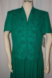 STEVENS PLEATED GREEN EMBROIDERED SHORT SLEEVE DRESS WOMEN SZ 14M NWT