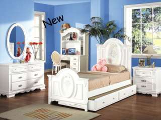 NEW FLORA GIRLS WHITE WOOD TWIN BED W/ TRUNDLE YOUTH
