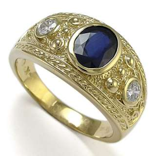 Mens 14k Solid Gold Genuine Sapphire & Diamond Ring Ring Sizes 7 to