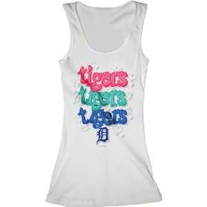 Detroit Tigers White Girls Ribbed Tank Top