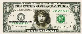 The Doors Jim Morrison CELEBRITY DOLLAR BILL UNCIRCULATED MINT US