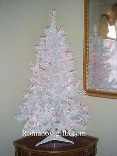 WHITE Retro Alaska Christmas Tree 4 Ft Pre lit Multi