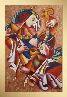 GuoGuo Violin Player Modern Hand Painted Abstract oil painting bestbid