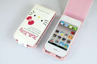 Cute Hello kitty Flip Flap Hard Leather Cover Case For iPhone 4 4G 4S