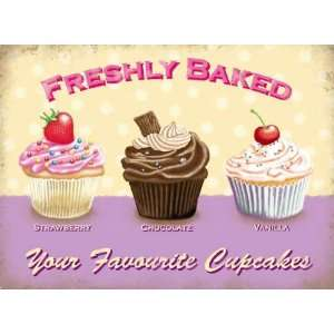 Baked Your Favourite Cupcakes   Vintage Style Enamelled Metal Sign