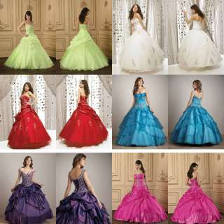 New Taffeta Prom Evening Dress Ball Gown Wedding Dresses Custom Size