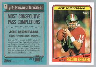 1988 Topps JOE MONTANA Record Breaker #4 49ERS / Chiefs
