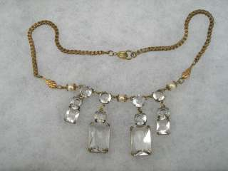 ELEGANT ART DECO OPEN BACK CRYSTAL DROP CHOKER NECKLACE