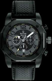 Bulova Marine Star Chronograph Black On Black Leather Mens Watch