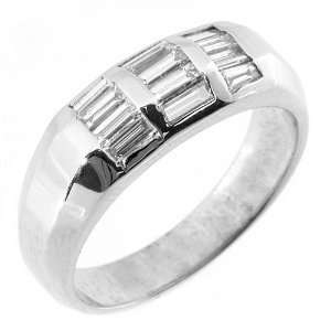 14k White Gold Mens Baguette Cut Diamond Pinky Ring 1 Carat Jewelry