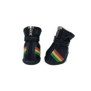 Fashion Stripe Dog Shoes in Black, Red, Yellow and Green