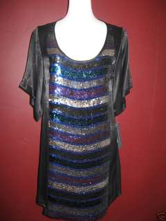 French Connection FCUK Sequin Black Blue Dress US 2