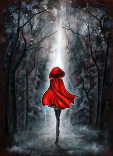 Dark Fairytale Modern Woman Girl Fashion Red Black Art