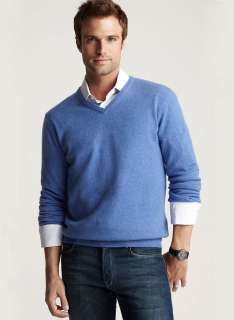 BLOOMINGDALES Mens Pure Cashmere V Neck Sweater Long Sleeves