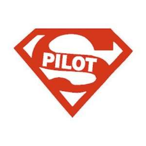 Cool SUPER PILOT Permanent Red Vinyl Sticker/Decal