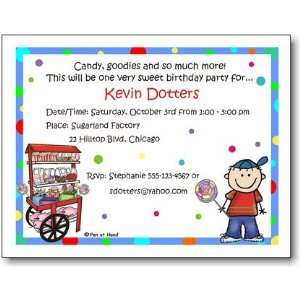 Pen At Hand Stick Figures   Invitations   Candy   Boy (Inv