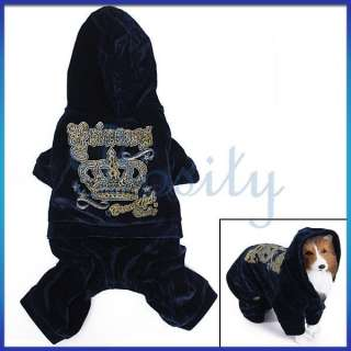 Dog Hooded Autumn Coat Velour Jumpsuit Sports Costume Clothes Apparel