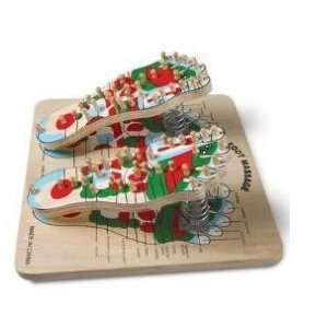 Reflexology Foot Massage Board, Wooden, Illustrated