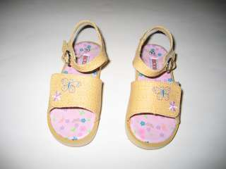 GIRLS INFANT/TODDLERS TAN MAN MADE SANDALS SKID DOTS SOLE SIZES5 10