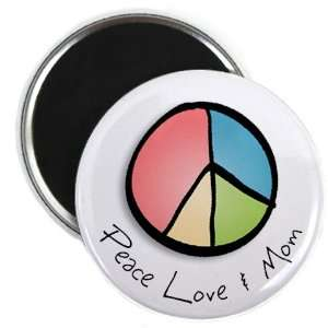 PEACE LOVE and MOM Mothers Day 2.25 Fridge Magnet