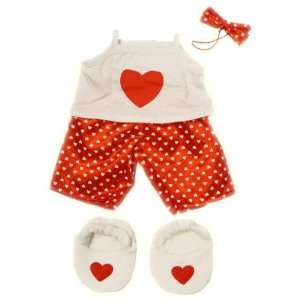 Satin Heart Pjs with Heart Slippers Teddy Bear Clothes Outfit Fit 14