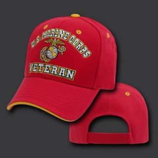 MARINE CORPS VETERAN EMBROIDERED MILITARY RED HAT CAP