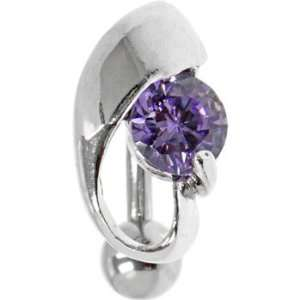 Lustrous Purple Gem Top Drop Belly Ring Jewelry