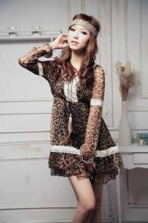 Asian Sizes XL 3XL women feather string lace leopard layer mini dress