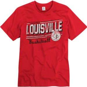 Louisville Cardinals Red Escalate Basketball Ring Spun T