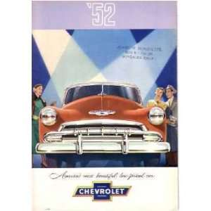 1952 CHEVROLET Sales Brochure Literature Book Piece