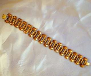 Victorian Revival Brass Book Chain Link Vintage Bracelet   Excellent