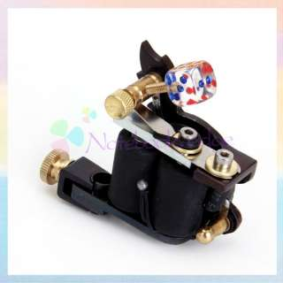 Stylish Dice Pattern Frame 10 Wrap Dual Coil Tattoo Machine Gun Liner