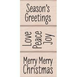 Merry Merry Christmas Wood Mounted Stamp Set (Hero Arts