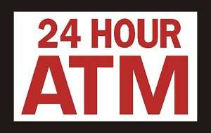 ATM Machine Decal Sticker, Sign, Red 3x5 #11