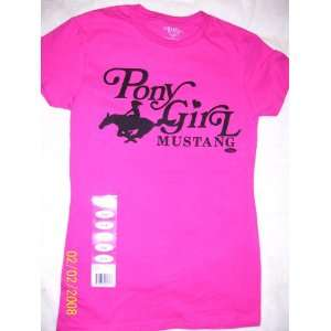 Pink Ford MUSTANG Girls XL T SHIRT Pony Girl Rider Automotive