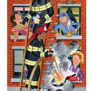 eeBoo Firemen Growth Chart Childrens Wall Decor