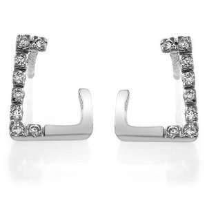 14K White Gold Accented Diamond Earrings Jewelry
