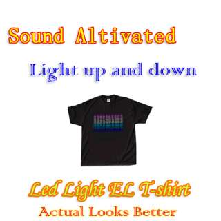 Flashing Cool Music Up and Down Light Sound Activated LED EL T Shirt