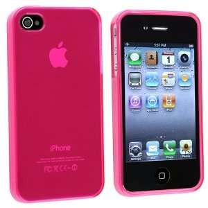 Clear Pink Hard Silicone Case Cover for iPhone® 4 G 4th
