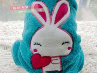 Peacock blue Rabbit WARM FLEECE Spring Autumn Winter DOG clothes COAT