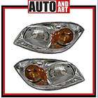 New Pair Set Headlight Headlamp w/Bracket & Cap Clear Lens SAE DOT