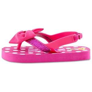 Mouse Pink Bow Flip Flops Shoes Sandals Back Straps Clubhouse NEW