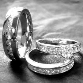 pieces his and hers mens womens STAINLESS STEEL CZ engagement
