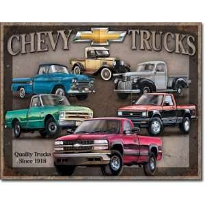 Chevy Trucks Tin Metal Sign  Quality Since 1918 , 16x13