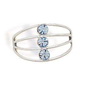 Toe Ring   4 Band Wire Blue Crystals Jewelry