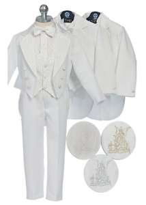 NEW Boys Christening, Baptism Tuxedo Gold/Silver Angel